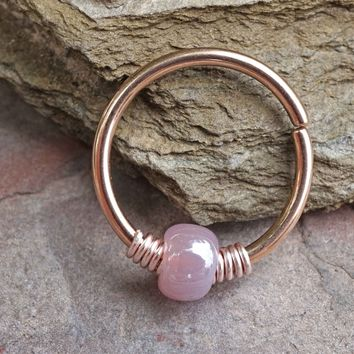 Dusty Rose Beaded 16g 18g or 20 Gauge Rose Gold Nose Hoop Ring or Helix Tragus Cartilage Hoop Earring