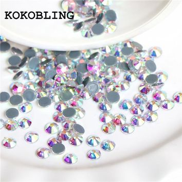 Hot fix Rhinestones / Iron On Rhinestones For Clothes, High Quality SS3-SS12 SS16 SS20 SS30 DMC Crystal AB Glass Stone Flatback