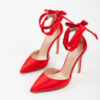 Red Sandals Women High Heels Sandals Pointed Toe Ankle Strap Summer Sandals Women Sexy Dress Shoes W