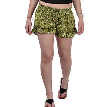 Women Girls Green Shorts Online Sleepwear Flower Printed BeachWear Cloth Cotton