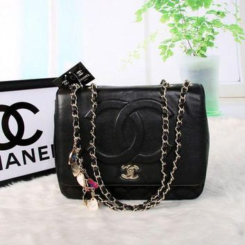LMFON Chanel' Simple Fashion Quilted Letter Embossed Pendant Metal Chain Single Shoulder Bag Women Flip Handbag