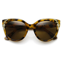 Womens Retro Oversize Flower Adorned Cat Eye Sunglasses 9320