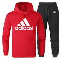 ADIDAS Tide brand men and women classic large printing cotton sports suit two-piece red
