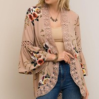 Bell Sleeve Floral Kimono - Taupe