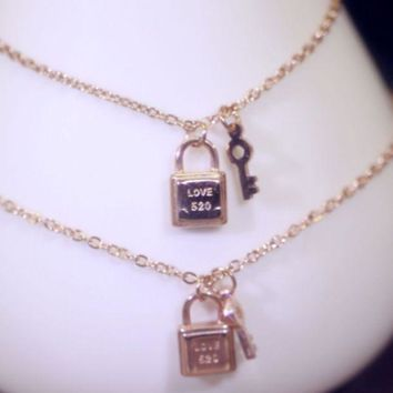 Lock key couple chain bracelet anklet