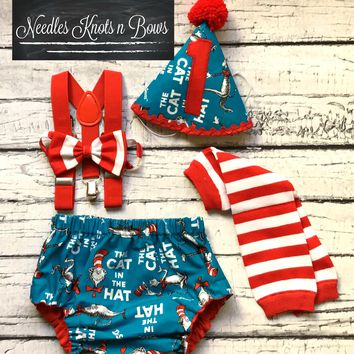 Boys Dr. Suess Cake Smash Set, Boys 1st Birthday Outfit, Dr Suess Birthday