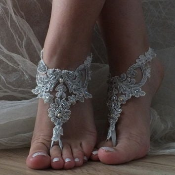 handmade silver Beach wedding barefoot sandals