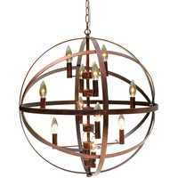 Peyton Wrought Iron Antique Bronze Globe Chandelier