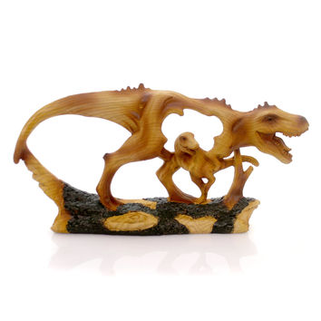 Animal T-Rex Woodlike Carving. Figurine