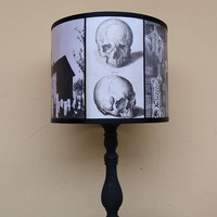 Skull lamp shade lampshade Requiescat In Pace - lighting,home decor,  halloween decor, skulls, dark art, Spooky Shades, gothic, graveyard