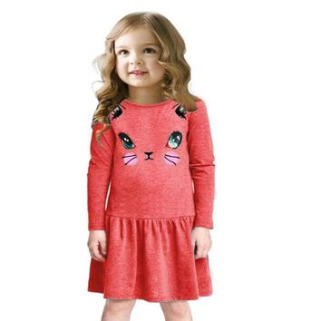 Cat Semblance Print Long Sleeve Dresses for Girls