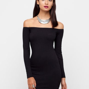Motel Deborah Long Sleeve Off Shoulder Dress in Black