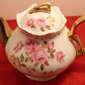 Vintage Lefton China Tea Pot - Hand Painted Rose