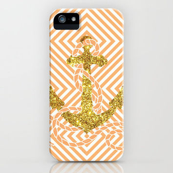 Bling Golden Fake Glitter Peach Nautical Anchor Photo iPhone Case by Girly   Society6