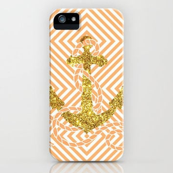 Bling Golden Fake Glitter Peach Nautical Anchor Photo iPhone Case by Girly | Society6