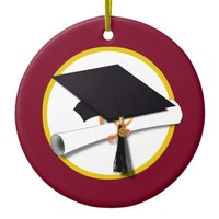 Graduation Cap & Diploma - Dark Red Background Ceramic Ornament