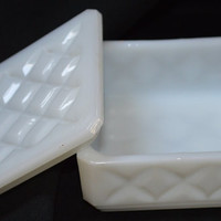 Diamond Pattern Milk Glass Dresser Box