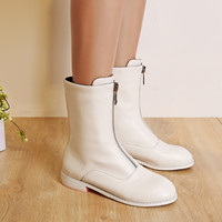 Zipper Mid Calf Boots Low Heel Motorcycle Boots Women Shoes 76014808