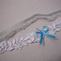 Bridal Lace Garter, bridal floral lace garter with blue ribbon bow