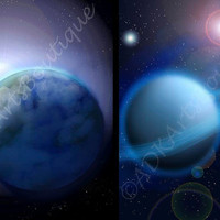 Outer Space Art, Digital Art, Prints, The Outer Limits A Set of 2  8 1/2 x 11 Prints