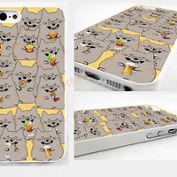 Because Cats,IPHONE 4/4S/5/5s 5c GLOSSY HARD CASE COVER>cute,emoji,party cat