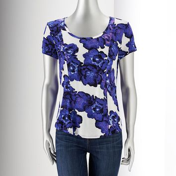 Simply Vera Vera Wang Printed Drop-Tail Hem Tee