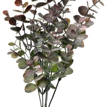 """Frosted Burgundy Plastic Outdoor Eucalyptus Bush - 13"""" Tall"""