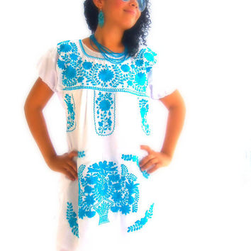 el cielo Turquoise mexican hand embroidered boho dress