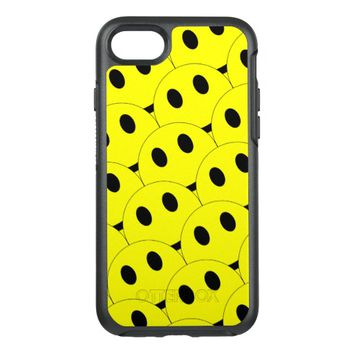 Funny Smiley Faces Smiling Happy Yellow Black OtterBox Symmetry iPhone 7 Case