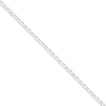 925 Sterling Silver Solid 3mm Flat Anchor Chain Ankle Bracelet