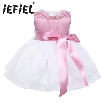 iEFiEL Sleeveless Infant Baby Flower Girls Pearl Neck Dress Princess Pageant Wedding 1st Birthday Party Dress Tulle Tutu Dress