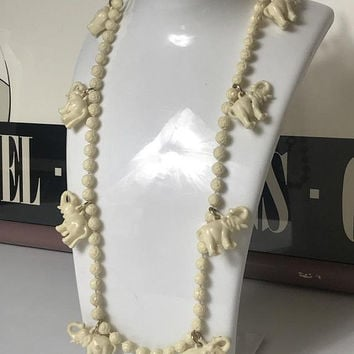 Vintage Lucite Plastic Lucky Elephant Necklace / Faux Ivory Elephant Beaded Boho Necklace / Hand Carved Elephant Charms & Rose Carved Beads