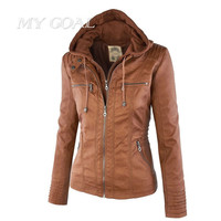 Winter Jackets Coats Women's Faux Leather Jacket Long Sleeve Hat Removable Women Basic Coats Waterproof Windproof Jackets Female