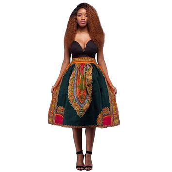 Women African Dashiki Hippie High Waist Skirt Flared Pleated Long Skirt Tribe Vintage Pleated Flared Ethnic Totem Midi Skirt