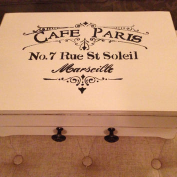 Vintage Silverware Chest Hand Painted in Cream with French Graphic