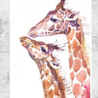 Two Giraffes ,  watercolor,  wall decor,  animal art, wildlife, art print, nursery dec