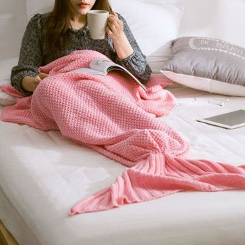 Warm Knitted Sofa Bedding Mermaid Tail Blanket
