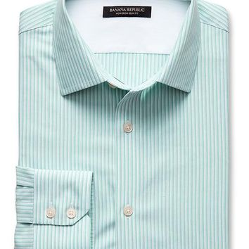 Banana Republic Mens Slim Fit Non Iron Double Stripe Shirt