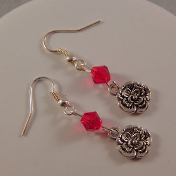 January Birthstone Earrings featuring carnation - birth month flower, floral gift for Capricorn or Aquarius, personalized jewelry, handmade