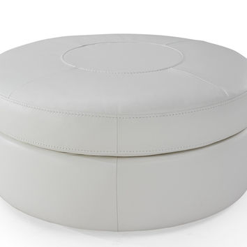 Aso Leather Tiered Circle Ottoman by Natuzzi Editions