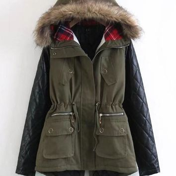 Army Green Pockets Drawstring Faux Fur Leather Plaid Hooded Casual Fatigue Parka Coat