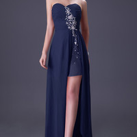 Solid Strapless Beaded Slit Front Chiffon Evening Gown