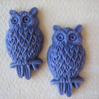 2PCS - Violet - Resin Owl Cabochons - 25mm Matte Finish - Jewelry Findings by ZARDENIA