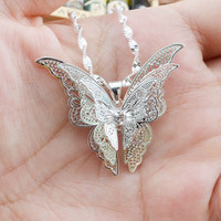 Beautiful Silver Butterfly Necklace Pendant Long Chain Pendant