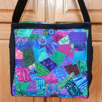 Hand-Crafted Large Quilted Messenger Bag - Crazy Pieced Jewel Tones #228