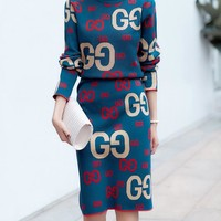 GUCCI Fashion Women Casual Jacquard Letter Half High Collar Knit Long Sleeve Sweater Top Skirt Set Two-Piece Blue