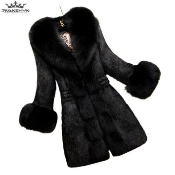 tnlnzhyn 2018 New Autumn Winter Women Faux Fur Coat Jacket Slim Fur Collar Women Warm Fur Coat Female Plus Size Coat Y629
