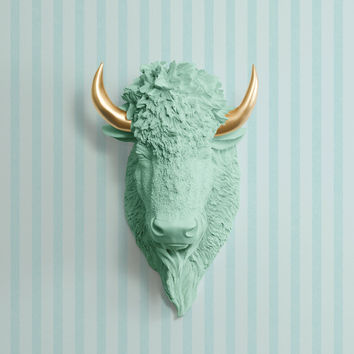 The Yellowstone Mint Green Faux Bison Head