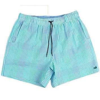 Dockside Swim Trunk in Antigua Blue and Teal Seersucker Gingham by Southern Marsh - FINAL SALE