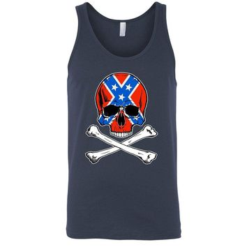 Confederate Rebel Flag Tank Top Skull and Crossbones